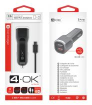 4-OK CL ADAPTÉR 3A POWER NA 2X USB + DATOVÝ KABEL MICRO USB