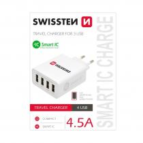SWISSTEN SÍŤOVÝ ADAPTÉR SMART IC 4x USB 4,5A POWER