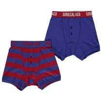 Soulcal SoulCal Boxers Pack of 2 Junior Boys, Blue/Stripe, 140
