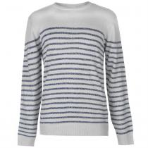 Lee Cooper Lee Cooper Knitted Striped Jumper Mens, Grey Marl, XL