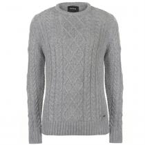 Firetrap Firetrap Cable Knit Jumper Mens, Grey Marl, XL