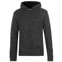 Lee Cooper Lee Cooper Hooded Zip Knitted Jacket Mens, Charcoal Twist, M