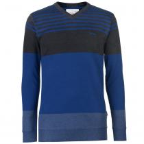 Lee Cooper Lee Cooper Stripe V Neck Knitted Jumper Mens, Blue/Grey, XXL
