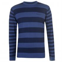 Pierre Cardin Pierre Cardin Striped Crew Knit Mens, Navy/Mid Blue, XXL