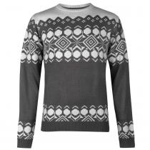 Pierre Cardin Pierre Cardin Crew Neck Fair Isle Knit Mens, Charcoal Marl, XXL