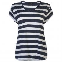 Miso V Neck T Shirt Ladies, Navy/White, XS