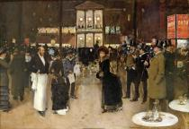 Jean Beraud - Obrazová reprodukce The Boulevard at Night, in front of the Theatre des Varietes 40x26.7