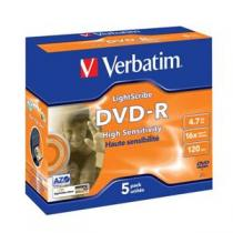 Verbatim DVD-R, 16x, 5-jewel